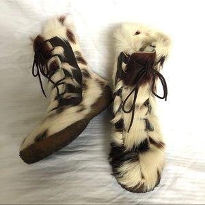 Vintage Long (goat?) Fur MUKLUKS Made in Canada